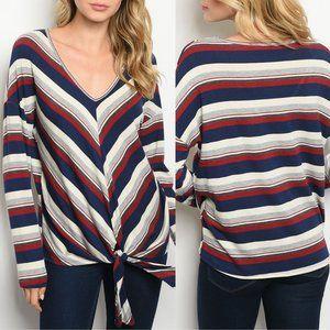 Navy Burgundy Stripes Front Tie Top {Promesa}